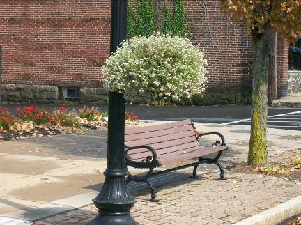 Street lamp and bench